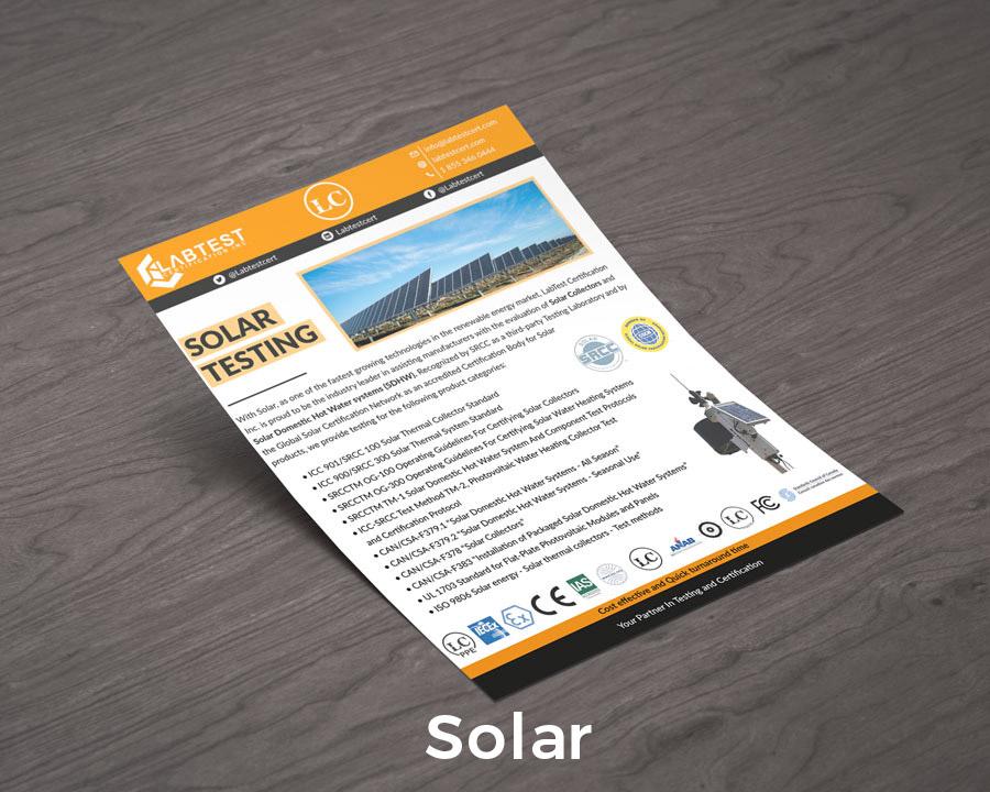 Projekt makiety testów słonecznych dla broszur