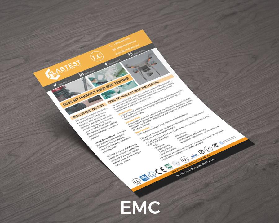 EMC Testing Mockups Design för broschyrer